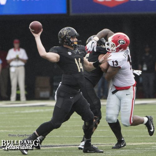 Jonathan Ledbetter (13) with pressure on Commodore QB Kyle Shurmur (13) - UGA vs. Vanderbilt - Saturday, October 7, 2017