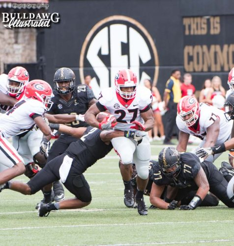 Nick Chubb (27) running with power and purpose - UGA vs. Vanderbilt - Saturday, October 7, 2017