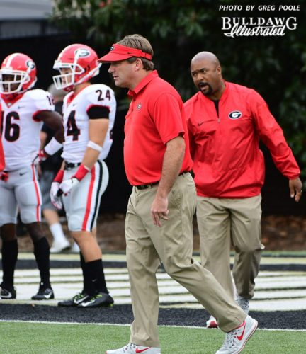 Kirby Smart get's his team ready to take on Vanderbilt during pre-game warmups  - UGA vs. Vanderbilt -  Saturday, October 7, 2017