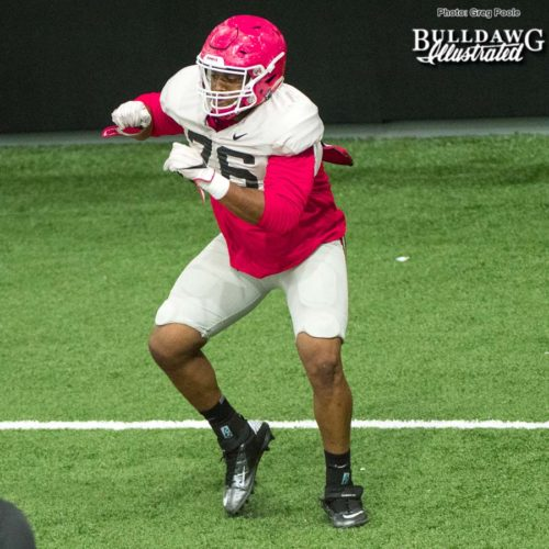 Michail Carter (76) during Georgia's practice on Tuesday afternoon