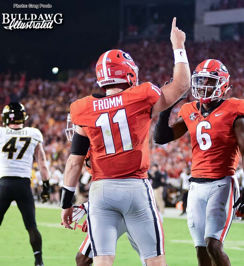 Jake Fromm (11) and Javon Wims (6) celebrate another Bulldog touchdown drive - Georgia vs. Missouri - Saturday, Oct. 14, 2017