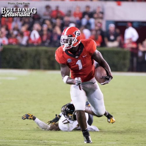 Sony Michel (1) leaves a Tiger flat on his back - UGA vs. Missouri - Saturday, Oct. 14, 2017