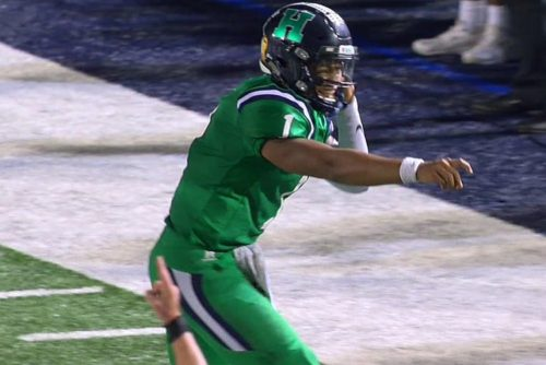QB Justin Fields injures a finger on his right throwing hand during Harrison's game versus Dalton on Thursday night, Oct. 19th, 2017