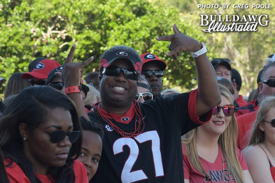 A Bulldog fan sports a Nick Chubb No. 27 jersey as he cheers on UGA football team players and coaches.  - 2017 Georgia-Florida Dawg Walk - Saturday, Oct. 28, 2017