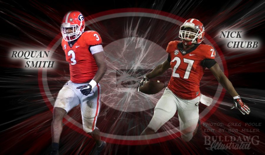Roquan Smith and Nick Chubb 2017 edit by Bob Miller