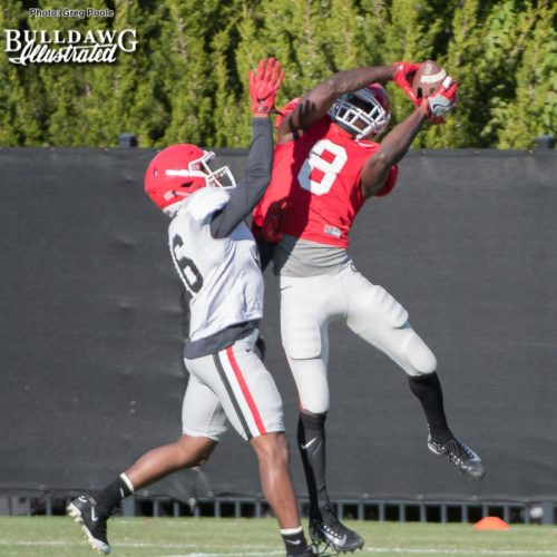 Riley Ridley makes a grab over the defender on Tuesday.