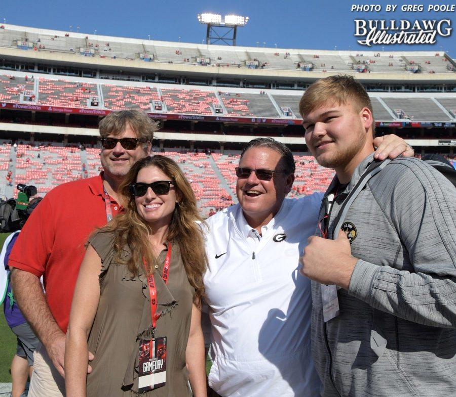 Cade Mays (right) and the Mays Family with Georgia O-line Coach Sam Pittman (middle) - Georgia-South Carolina game - Saturday, Nov. 4, 2017