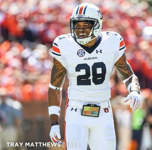 Tray Matthews, Auburn Safety (Photo from Auburn Athletics)