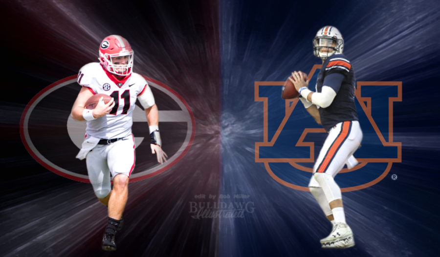 Georgia's Jake Fromm (11) and Auburn's Jarrett Stidham (8) (Edit by Bob Miller/Bulldawg Illustrated)