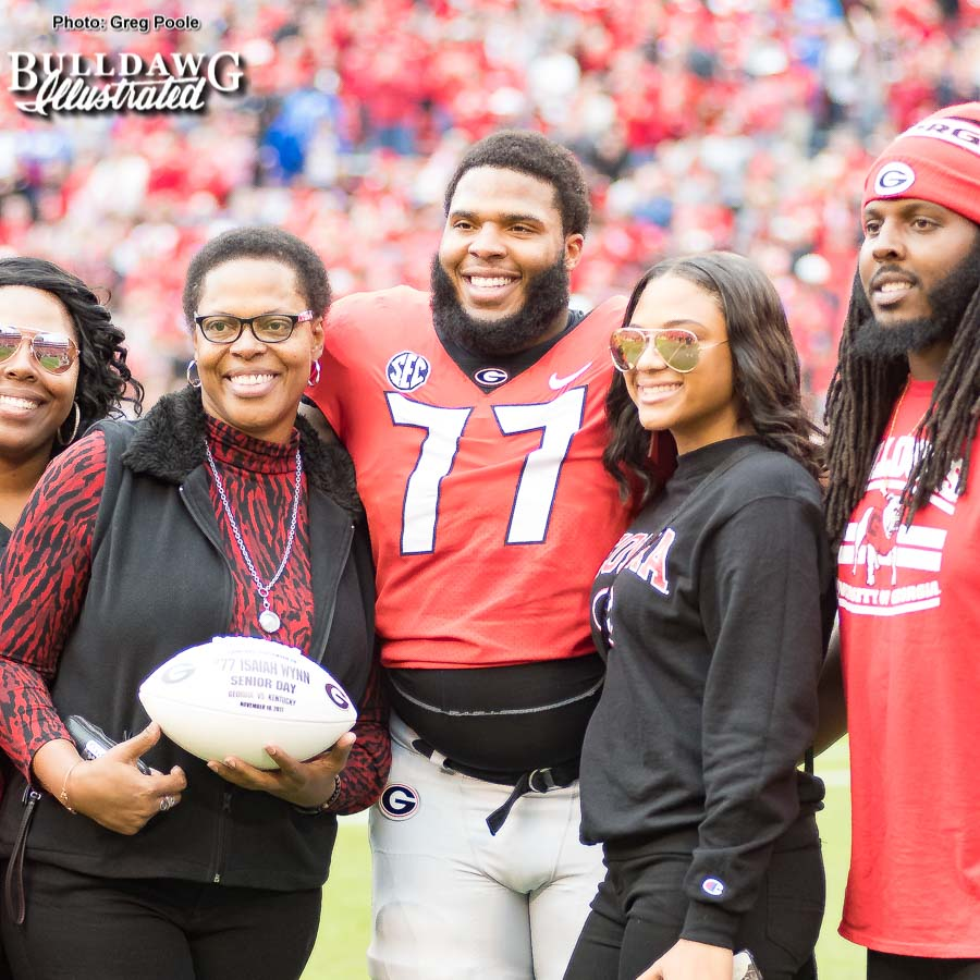 Offensive lineman Isaiah Wynn with his family being honored on Senior Day at Georgia vs. Kentucky on Saturday, Nov. 18, 2017.