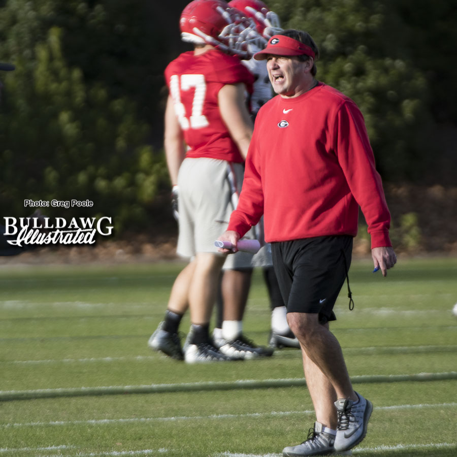 Kirby Smart was keeping the intensity up at practice today.