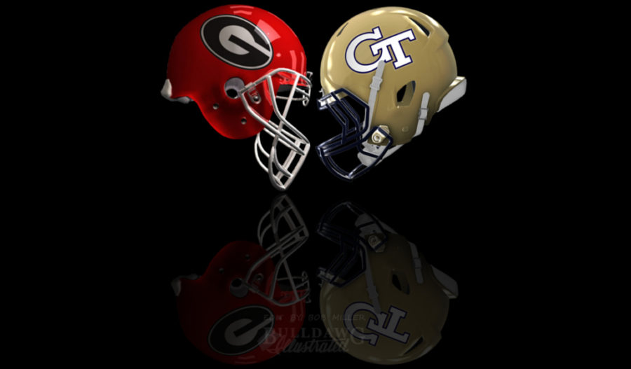Georgia vs. GT 2017 helmet edit for Score Predictions by Bob Miller
