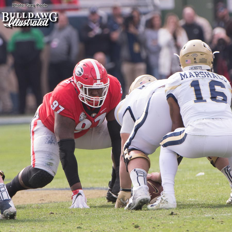 Senior nose guard John Atkins (97) was a rock in the middle for Georgia on the defensive front in the Bulldogs game versus Tech on Saturday. - UGA vs. GT - Saturday, Nov. 25, 2017 -