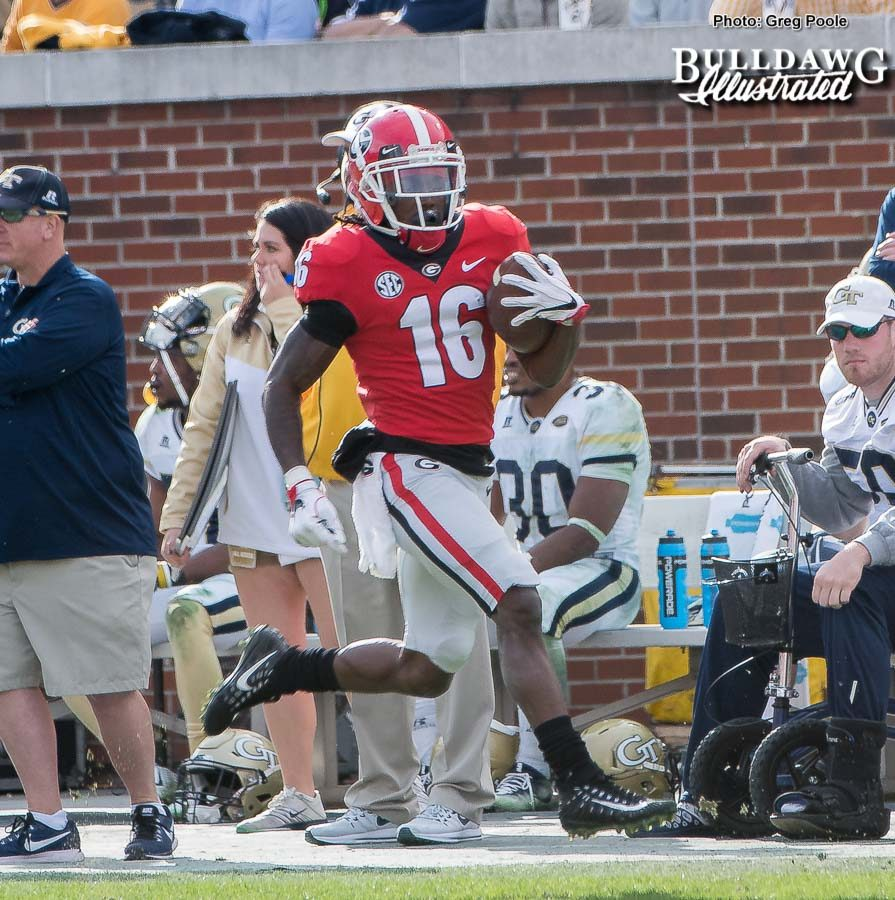 Bulldog wideout Ahkil Crumpton (16) takes a Jake Fromm pass 78-yards to the house, putting Georgia up 38-7 (after the PAT) over the Yellow Jackets in the fourth-quarter. - UGA vs. GT - Saturday, Nov. 25, 2017 -
