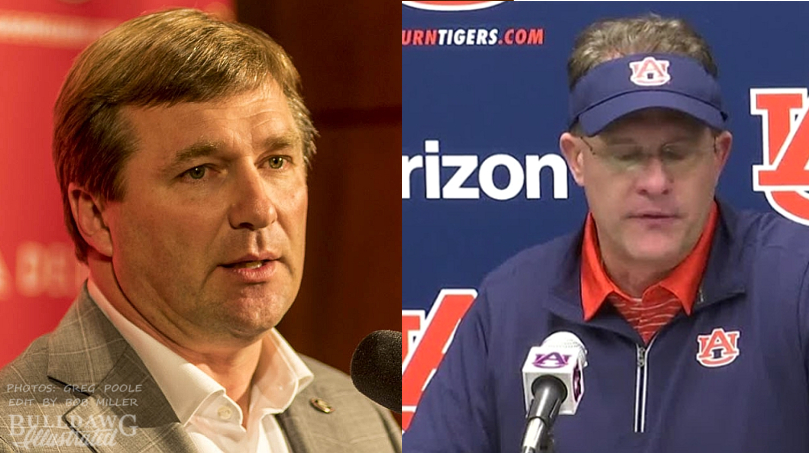 Kirby Smart (left) and Gus Malzahn (right) (Photo of Kirby Smart by Greg Poole/Bulldawg Illustrated) (Photo of Gus Malzahn from Auburn Athletics)