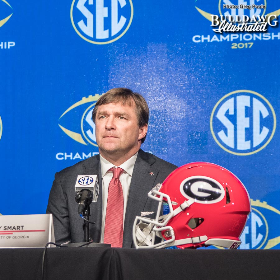 Kirby Smart during his pregame SEC Championship press conference on Friday, Dec. 1, 2017