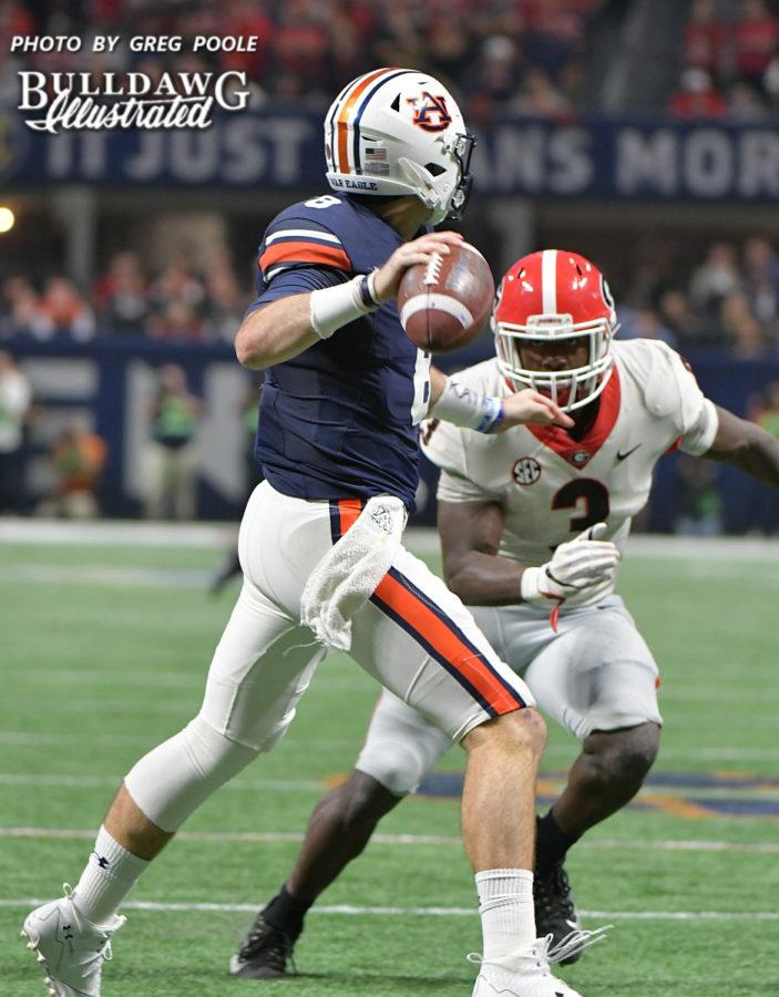 Georgia's Roquan Smith (3) bears down on Auburn QB Jarrett Stidham (8) - 2017 SEC Championship, Saturday, Dec. 2, 2017 -