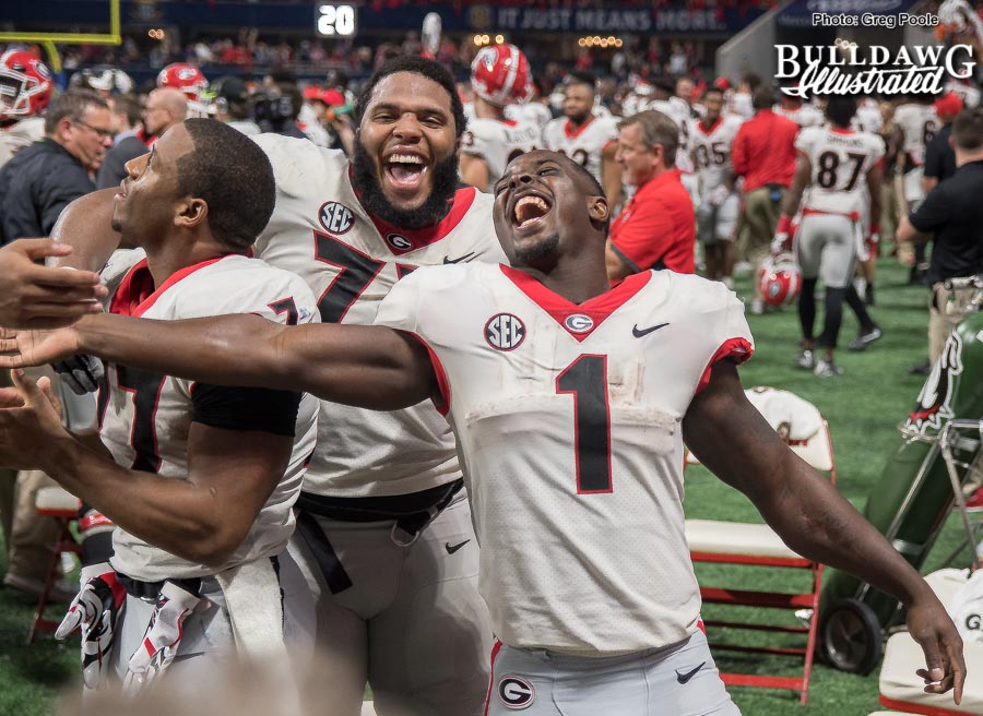 Nick Chubb, Sony Michel and Isaiah Wynn celebrate - SECCG 2017