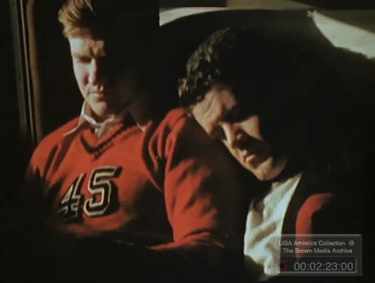 The UGA football team traveled to California to the 1943 Rose Bowl via train. (photo from footage of the 1943 Rose Bowl from UGA Athletics Collection: The Brown Media Archive)