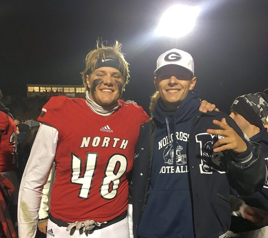 Norcross class of 2018 kicker/punter Jake Camarda (right) was at North Gwinnett's Class 7A State Football Championship on Friday to support fellow UGA commit, 2018 long snapper Payne Walker (48). (Photo from Jake Camarda / Twitter)
