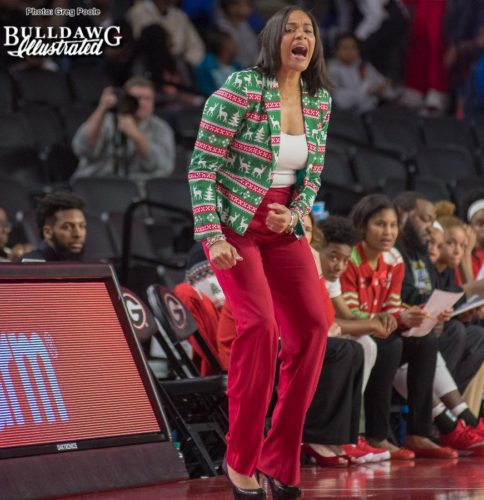 UGA women's basketball head coach Joni Taylor is decked out in holiday fare and encouraging her Lady Bulldogs as they take on Wright State on Thursday afternoon.