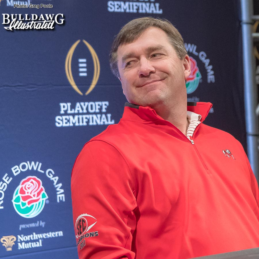 Kirby Smart cracks a smile during his Saturday morning Rose Bowl press conference, Dec. 30, 2017