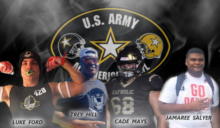 2018 US Army All-American Luke Ford, Trey Hill, Cade Mays, Jamaree Salyer edit by Bob Miller