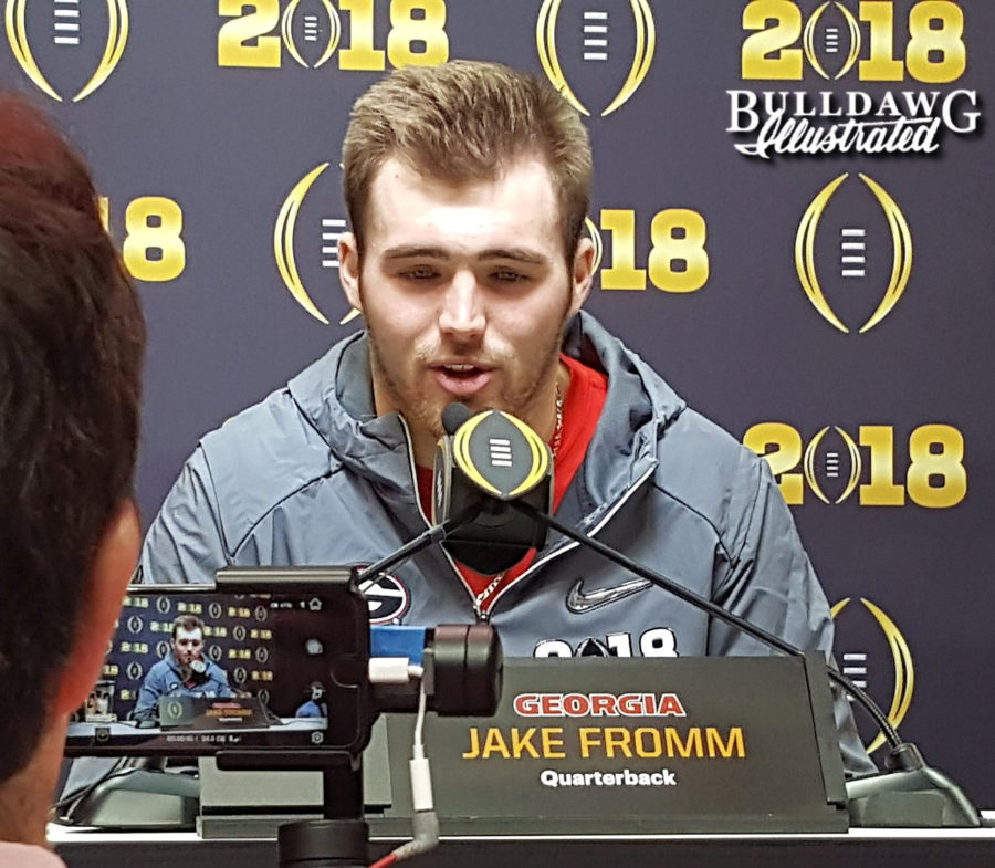Jake Fromm during Saturday's National Championship media day press conference, 2018-Jan-06