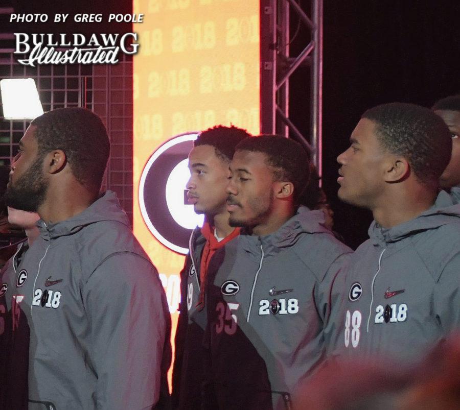 Aaron Davis (35) at the College Football Playoff National Championship media day in Atlanta, GA at Phillips Arena, Saturday, Jan. 6, 2018.