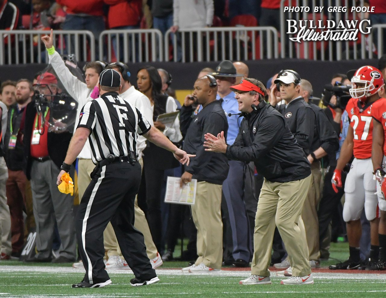 Kirby Smart pleads his case with a Big 10 referee during the first-half of the National Championship game. - Mercedes-Benz Stadium, Atlanta, GA - Monday, Jan. 8, 2018