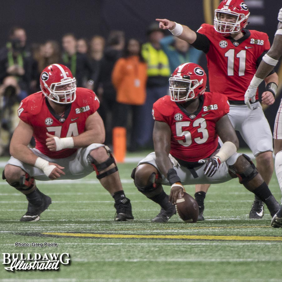 Jake Fromm (11) directs the Georgia offense in the National Championship game on Monday, Jan. 8, 2018.