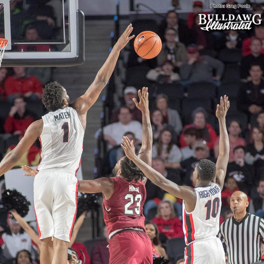 Yante Maten with the blocked shot – Georgia vs. South Carolina – January 13, 2017