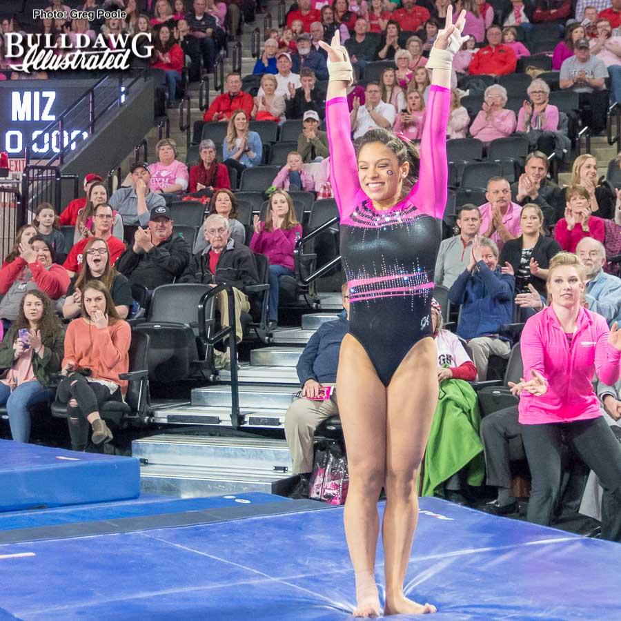 Sabrina Vega takes a bow after her vault - Georgia vs. Missouri – February 3, 2018