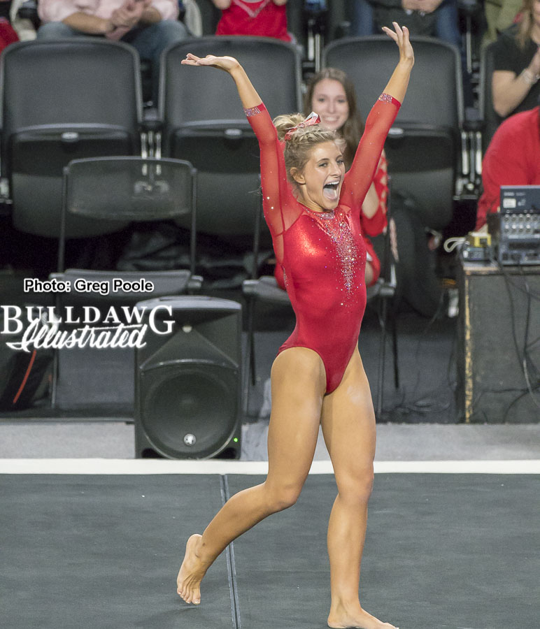 Sydney Snead reacts to scoring a perfect 10 on floor against No. 5 Florida