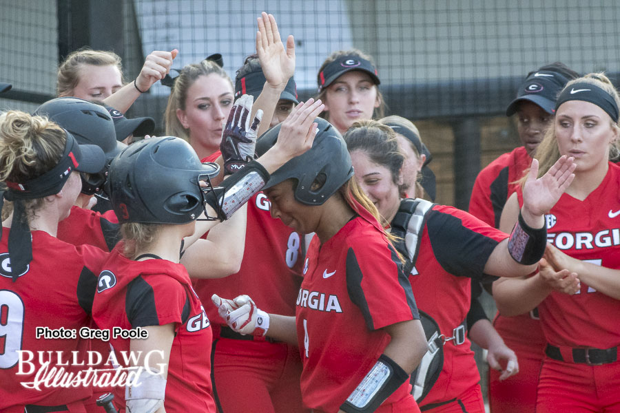 Ciara Bryan is greeted at home plate after her homer – Georgia vs. Charleston – February 23, 2018