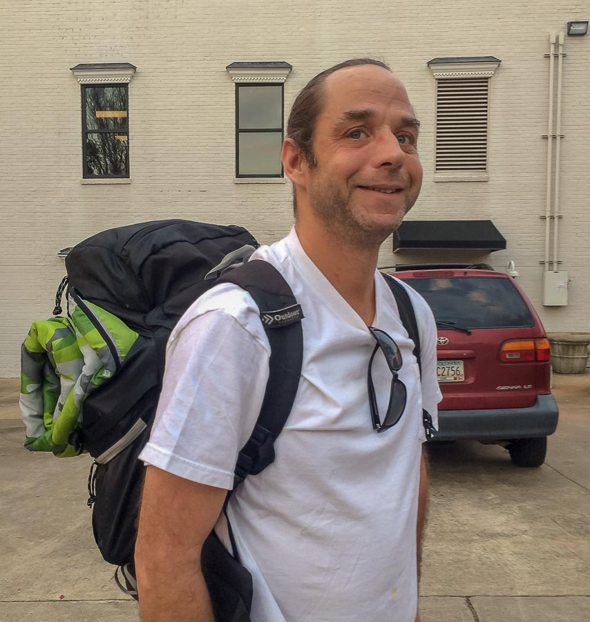 Athenian Michael Ciucevish prepares to camp at Little Tybee