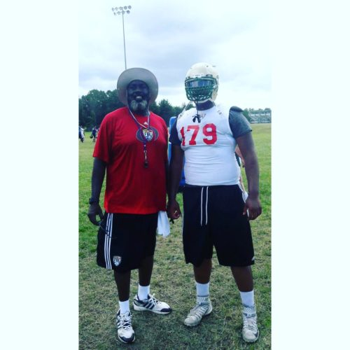 FBU Boston Lineman coach William Roberts and Xavier Truss. Photo @xtruss94 Twitter