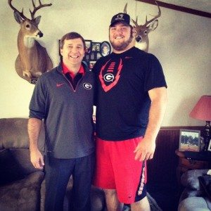 UGA Head Coach Kirby Smart with Ben Cleveland (Photo courtesy of Ben Cleveland - Twitter)