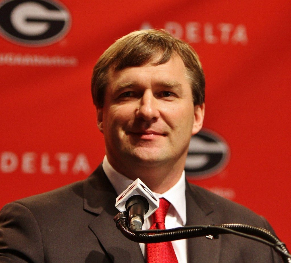 Kirby Smart at the podium during his introductory press conference