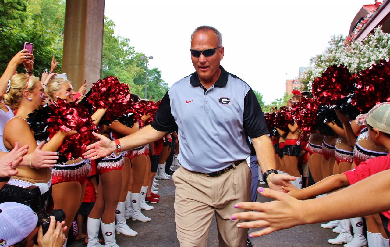 Coach Mark Richt - Dawg Walk for Louisiana-Monroe 05-Sept-2015 - (Photo by Roby Saye)