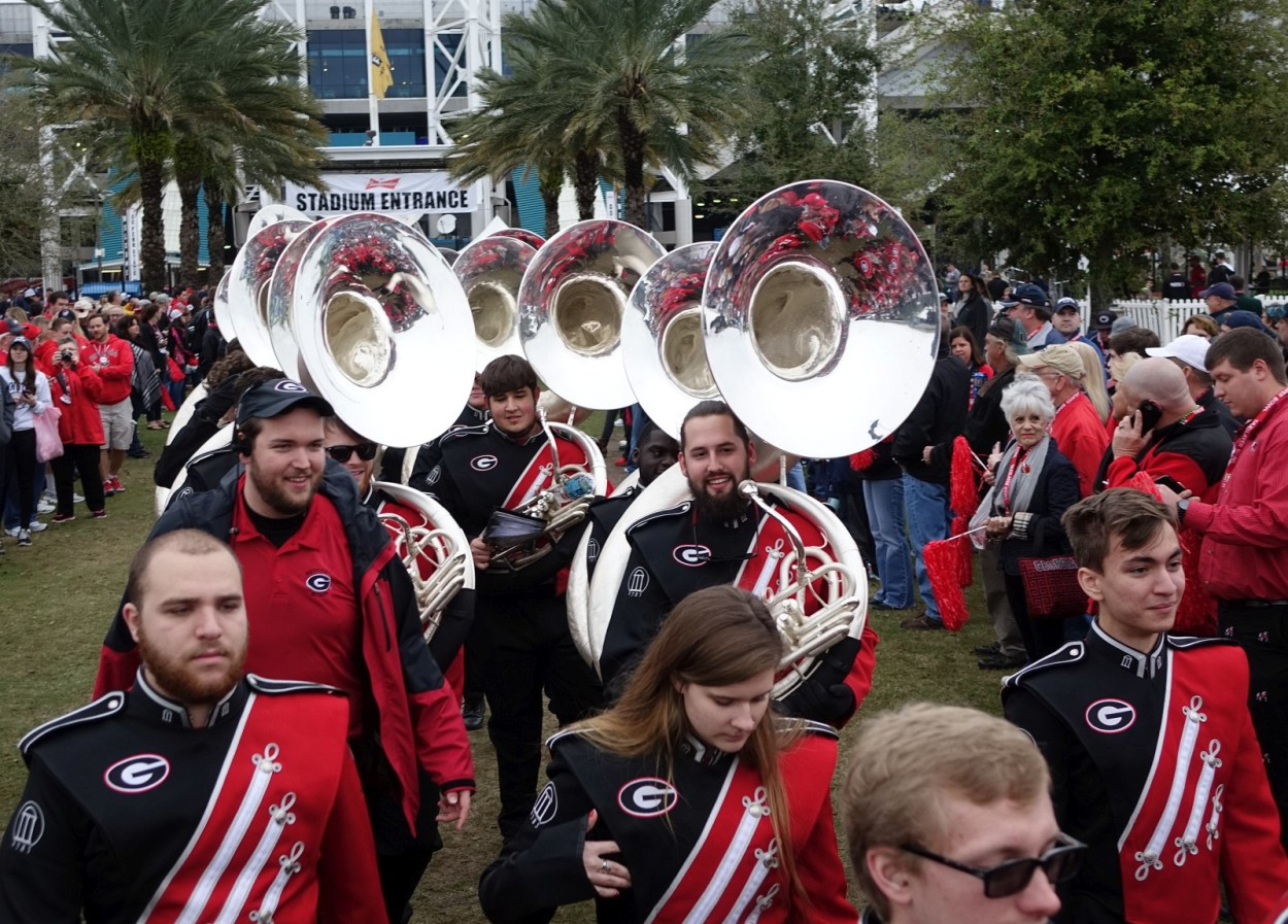 Georgia's Redcoat Marching Band - Dawg Walk - TaxSlayer Bowl - 02-JAN-2016 (Photo by Greg Poole)