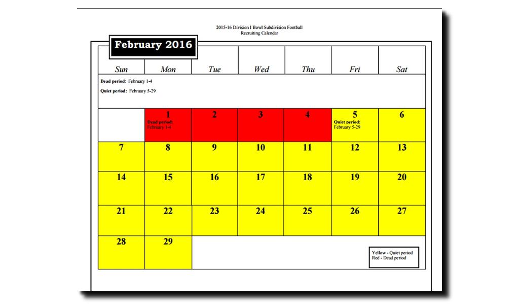 Recruiting Calendar - February 2016