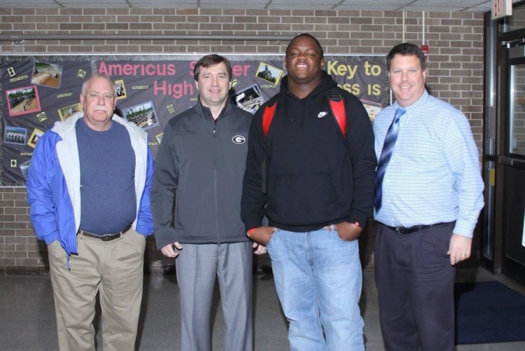 Kirby Smart with 2016 DT prospect Tyler Clark (Photo courtesy of Nadine Pope)