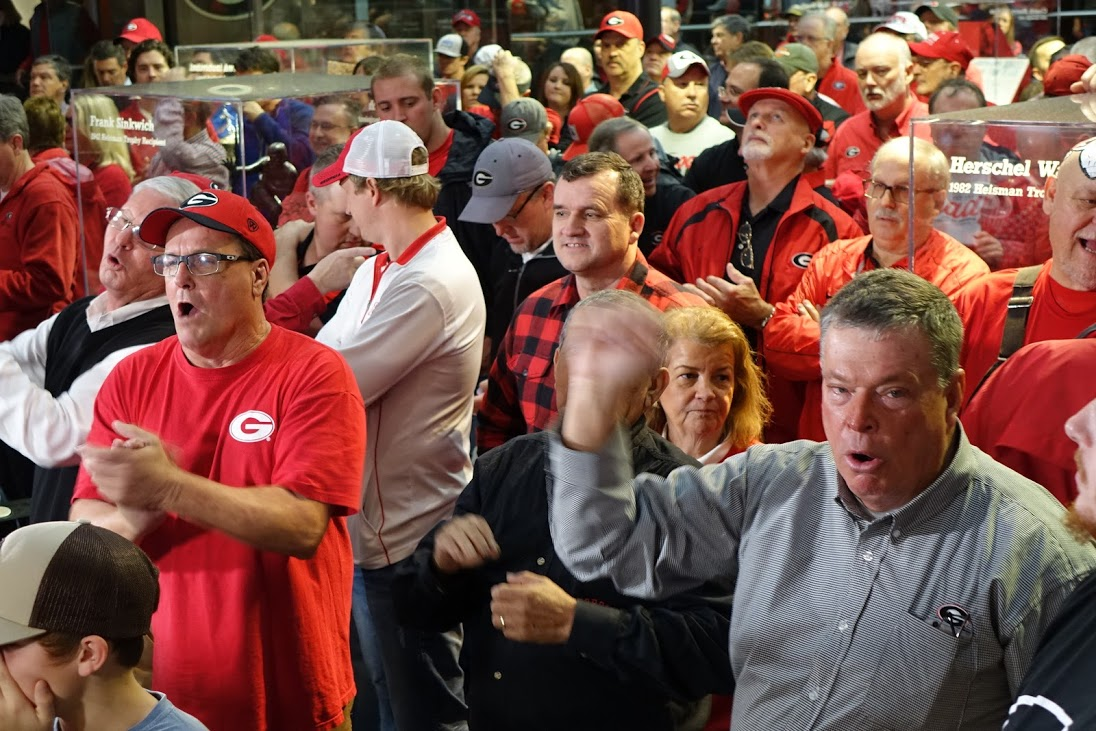 Fans react to good news on National Signing Day 2016 at Butts-Mehre, Athens, GA (Photo by Bulldawg Illustrated's Greg Poole)