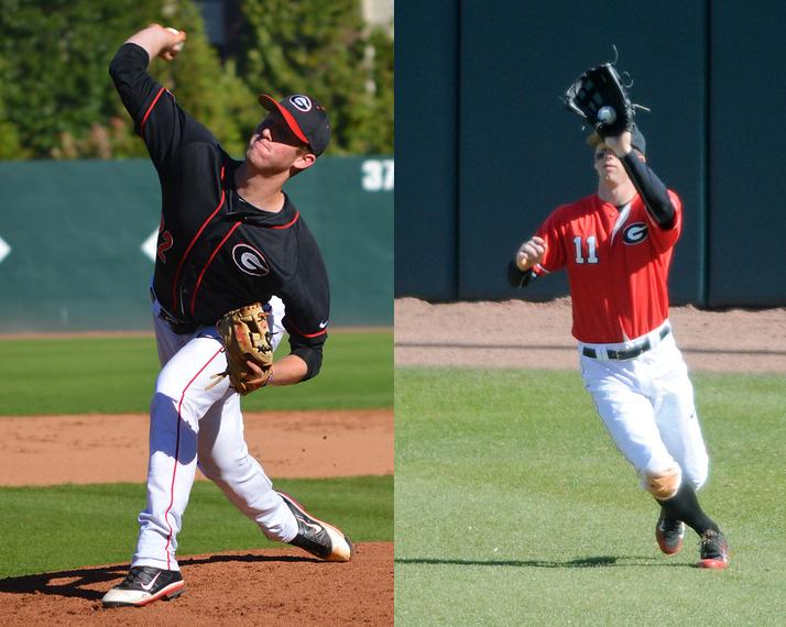 UGA baseball - Robert Tyler (left) and Stephen Wrenn (right) - photos by Steven Colquitt and Sean Taylor -