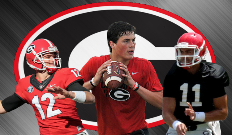 (left) No.12 Brice Ramsey, (middle) Jacob Eason, (right) No.11 Greyson Lambert (2016 UGA quarterbacks edit by Bob Miller)