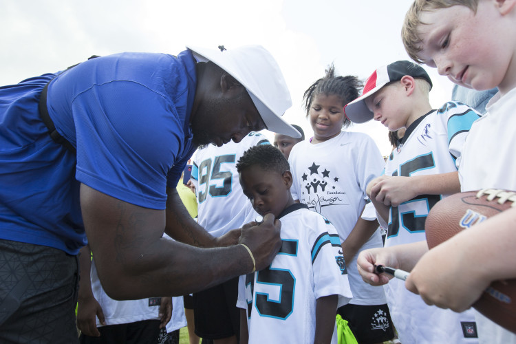 during the 4th Annual 2015 Charles Johnson Foundation Sports Academy on Friday, June 19, 2015, in Hawkinsville, Georgia. (AP Photo/Paul Abell)