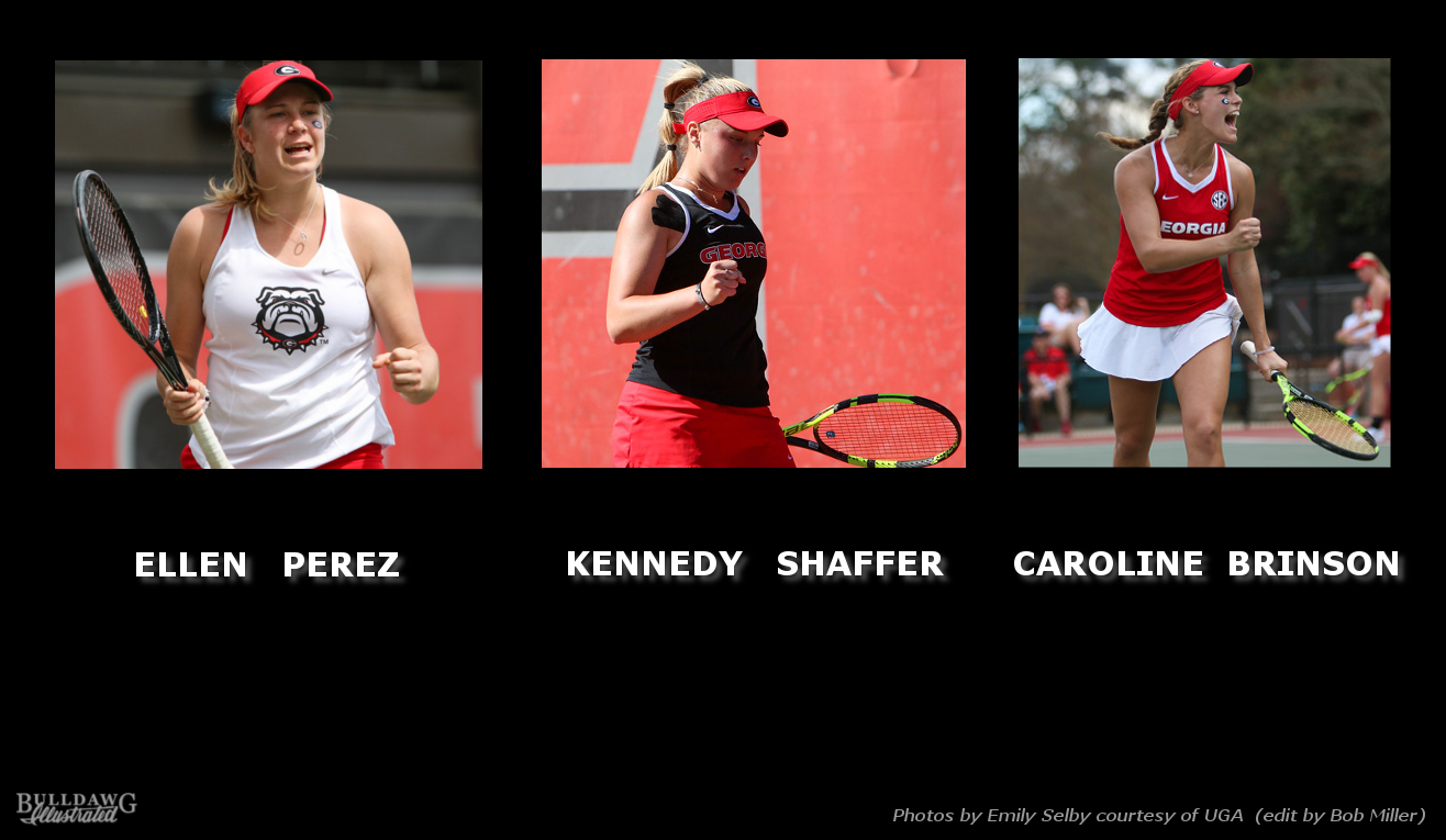 2016 UGA Women's Tennis - Ellen Perez, Kennedy Shaffer, Caroline Brinson All-SEC edit by Bob Miller