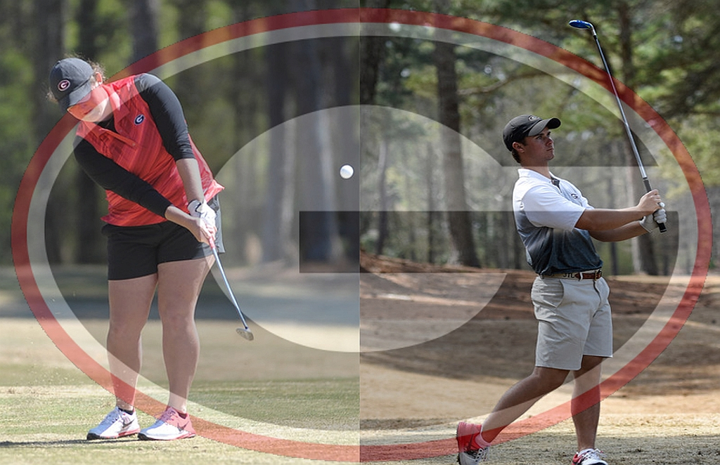 Sylvie Brick (on left) and Jack Larkin, Jr. (on right) 2015 - 2016 UGA Golf Team (photo courtesy of University of Georgia)