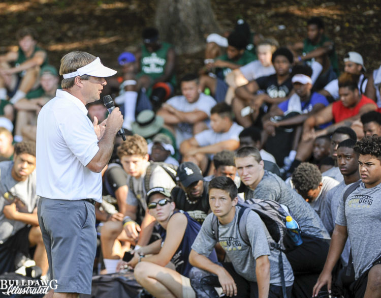 Kirby Smart addresses campers on day 3 of UGA 7v7 and lineman camp